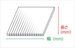 プラダンの幅と長さについて。筋目方向を長さとして表記しております。