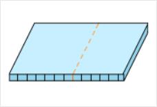 プラダンの折れ線方向と筋目のイメージ